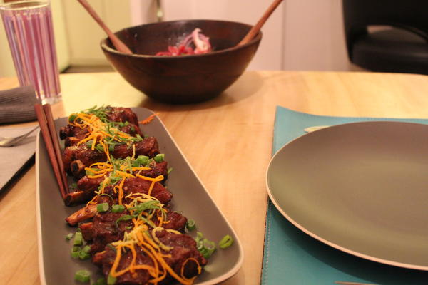 Citrus glazed ribs with salad