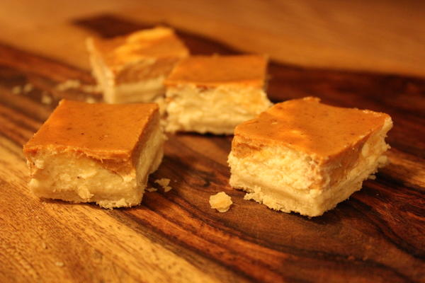 Pumpkin eggnog cheesecake bars