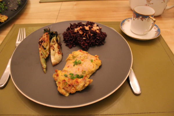 Lemongrass Chicken with bok choy and black rice