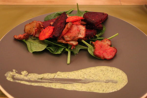 Roasted vegetables with green tahini sauce