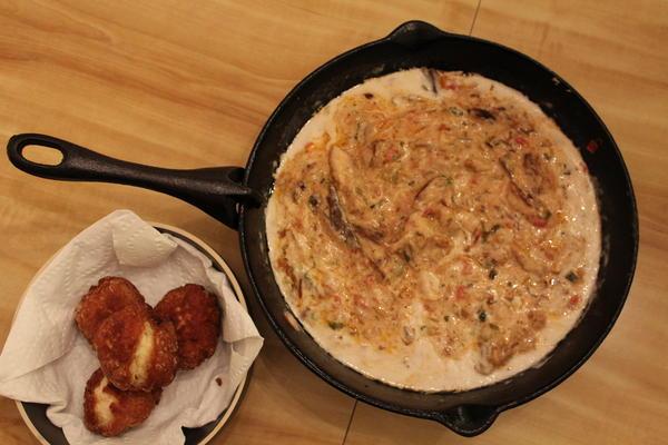 Mackerel rundown with johnny cakes