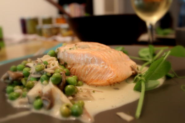 Poached Salmon with peas and mushrooms