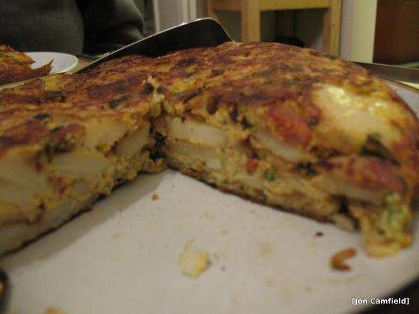 Cutting in to a Spanish Tortilla