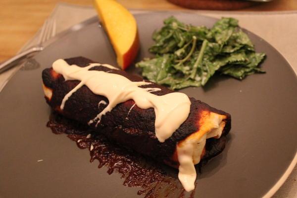 Goat Cheese and Corn Mole Enchiladas
