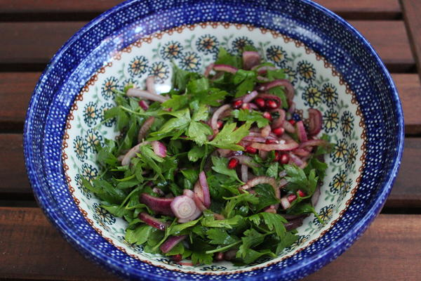 Parsly, Red Onion and Pomegranate Salad