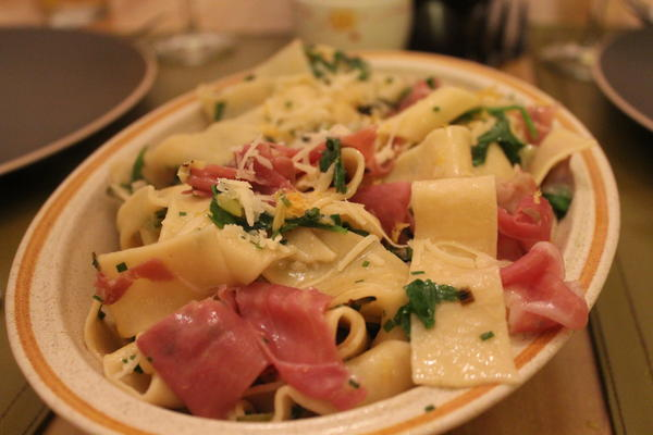 Pappardelle with Arugula and Prosciutto