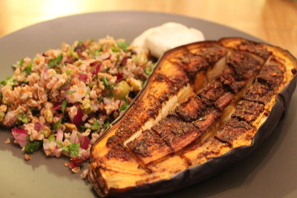 Spiced Eggplant with Bulgar salad