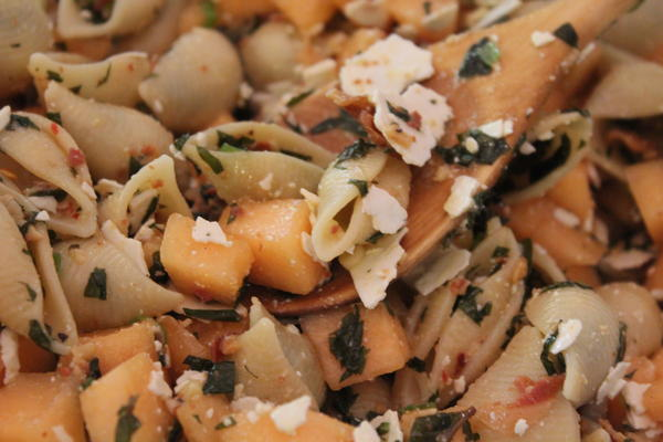Pasta Salad with melon, ricotta, pancetta and mint