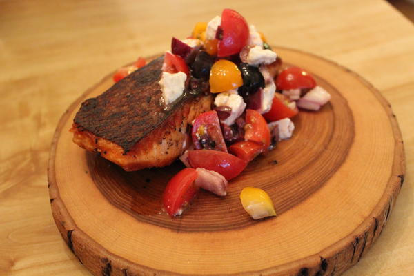 Salmon with Tomato-Olive-Onion-Feta salsa