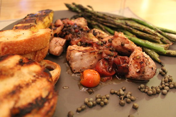 Grilled Marlin, roasted cherry tomatoes and asparagus
