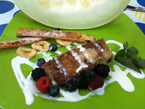 Pan seared tamale breakfast with fresh fruit